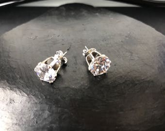 Large cubic zirconia and sterling silver stud earrings  925 CZ
