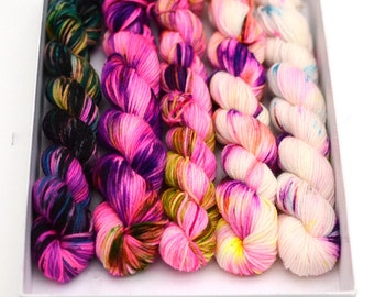 Hand dyed mini sock yarn skeins