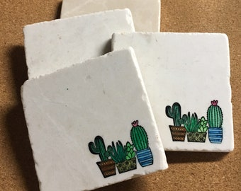 Cactus Coaster ~ Succulent Coaster ~ Cactus Decor ~ Santa Fe Decor ~ Coaster Set ~ Marble Coaster ~ Handcrafted Coasters ~ Housewarming Gift