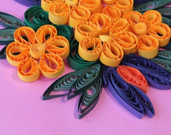 Paper Quilling art, Unique home decor, Quilled wall art, Floral 3D art wall decor, paper wall art, floral wall hanging, unique gift for home