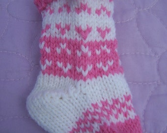 Handknit mini stocking, Pink white stocking, Mini Christmas stocking, Mini Christmas sock, Handknit tree decor, Pink white Xmas decor