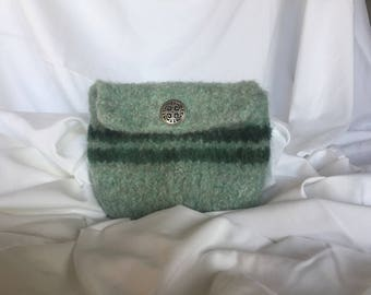 Green felted wool pouch with belt loop.