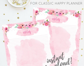 Notes Insert   Pink Floral Watercolor Printable Insert Series   For Classic Happy Planner   Instant Digital Download   Planner Insert   PDF