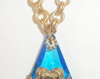 Art Nouveau Pendant Necklace, Large Blue Translucent Stone Woman Figural