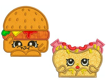 Shopkins, Hamburger and Hotdog - Machine Applique Embroidery - 2 Patterns in 3 Sizes - Instant Digital Download