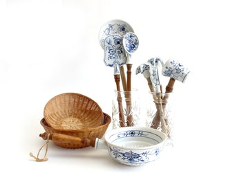 Blue & White Hand Painted Kitchen Utensils, Porcelain Cooking Tools, Ceramic Strainer, Cottage Style Kitchen Decor