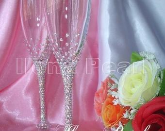 Personalized Wedding Swarovski Crystal Champagne Wine Glasses Multicolor Brilliant Mr Mrs Bride Groom Toasting Flutes Gold Silver Love Gift
