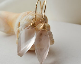 Simple Rose Quartz and 14k Gold Filled Earrings Handmade Wire Wrapped