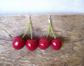 lungs Cherry Earrings Red cherries Boho