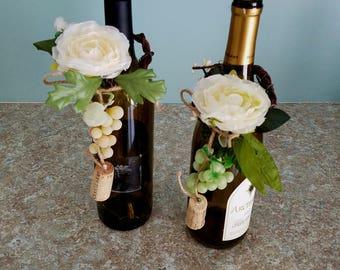 Vineyard Wedding Foliage Ivory Floral Arrangement Wine Bottle Toppers Bridal party shower Idea Favors Centerpieces reception decoration