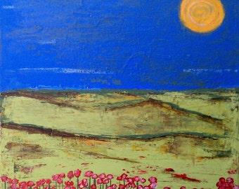 landscape painting, field of wild flowers painting, wildflower painting, wildflowers, ORIGINAL  PAINTING, acrylic painting, rural painting