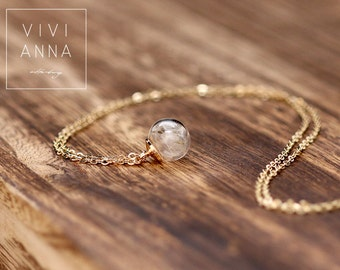 gold-plated mini Dandelions chain, Real DANDELION SEEDS tube necklace,Horizontal glass, delicate gold necklace k279