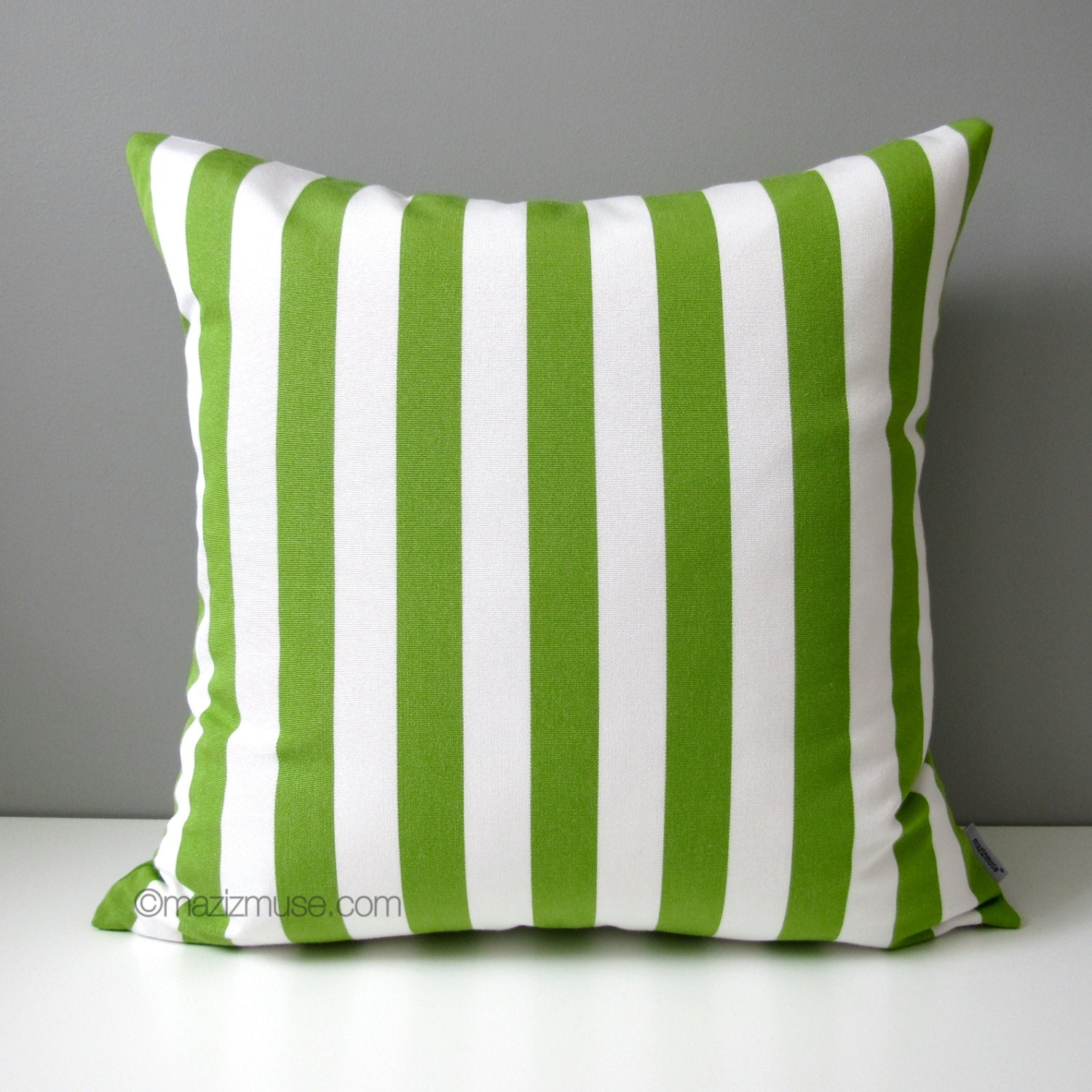 🔎zoom. sale lime green  white striped pillow cover modern outdoor