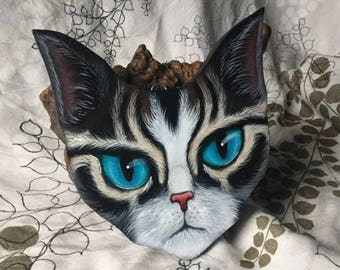 Hand Painted Cat Shaped Wood Plaque