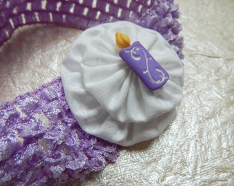 Lavender Birthday Candle Crochet Children's Yo Yo Headband