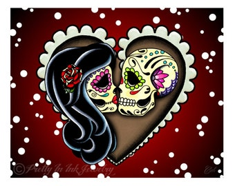 """Ashes 8"""" x 10"""" Art Print -Day of the Dead Couple - Sugar Skull Lovers - Valentines Love"""