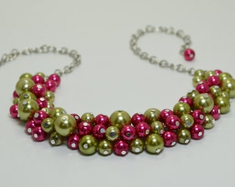 Fuchsia & Green Pearl Necklace, Pearl Cluster Necklace, Chunky Necklace, Green and Fuchsia Jewelry, Olive and Fuchsia Jewelry, FREE SHIPPING