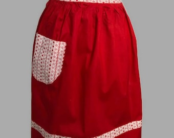 Vintage Heart Half Apron - Valentine Heart Pocket Apron - Red Apron - Half Apron