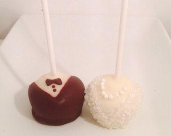 Wedding Cake Pops, Tuxedo Cake Pops, Bride and Groom Cake Pops