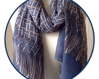 Denim Blue, Grey, Rust - Cubes Tassels Scarf  - Festival Boho Scarves