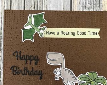 Handmade dinosaur happy birthday card-Have a roaring good time card-Dinosaur birthday card-Hand stamped birthday card-