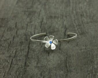 Mother's Day Gemstone Flower Cuff, Fine Silver Cuff, Single Flower Cuff