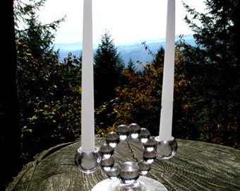Set of Imperial Glass Company Candlewick Pattern Stem No 3400 Candlestick Holders - Double Light Candlewick Candle Holders