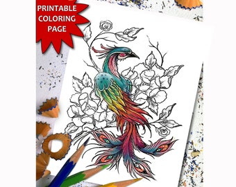 Phoenix Coloring Page for Adults, Printable Adult Coloring Book Page, Download Printable Coloring Pages
