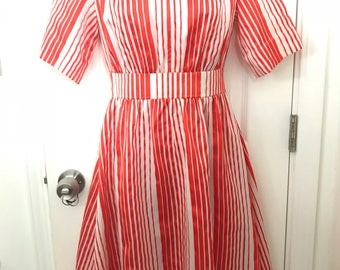 1950s 50s Valentines candy cane red white striped dress