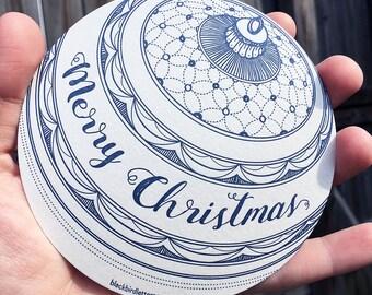 letterpress christmas ornament circle card