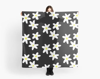 Retro Daisy Scarf, Womens Scarf, Womens Fashion, Scarves, Black, White, Yellow, Daisy Scarf, Floral Scarf, Flower Scarf, Gifts for Her, Boho
