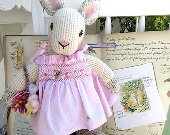 Knit Animal, Stuffed Bunny Doll in Hand Smocked Dress/ Hand Knit, Hand Embroidered, One of a Kind / Annika