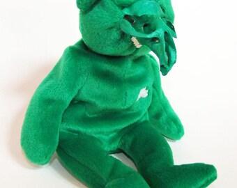 Green Skull Teddy ~ Rogue Taxidermy ~ Weird Art Doll