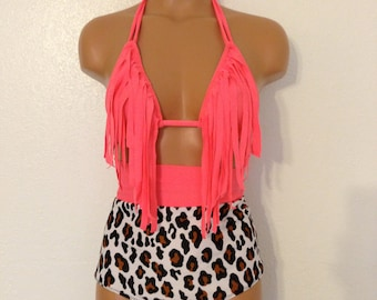 Fringe top with color band leopard bottoms