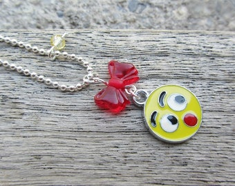 "Necklace ""Oh!"" n * 2 - smile, red bow, yellow Pearl"