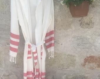 NATURAL Turkish towel robe, beach wedding, beach coverup, Turkish Cotton robe, bridesmaid gift,  pool, spa, Pink