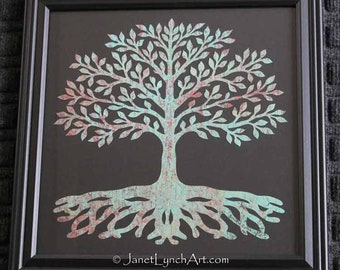 Tree Of Life  - Scherenschnitte - Hand Paper Cutting Art designed signed and dated By Janet Lynch - Framed