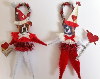 VALENTINE Boxer doggie vintage style CHENILLE ORNAMENTS set of 2 feather tree