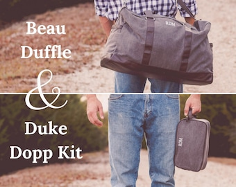 Mens Monogrammed Travel Set | Monogrammed Duffle | Dopp Kit | Groomsmen Gift | Personalized Gift for Men | Gifts for Travelers | Beau Set