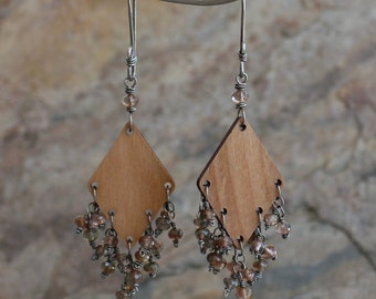 WOOD and ANDALUSITE chandelier earrings sterling silver, wood chandelier earrings, wooden