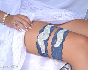 Blue And Ivory Garter, Blue Wedding Garter, Bridal Garter Set, Sequins Garter Set, Lace Bridal Garter, Handmade Garter, Wedding Accessories