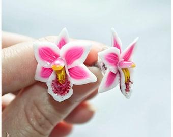 Orchid earrings Orchid stud earrings Polymer clay earrings Polymer clay orchid Flower clay stud earrings Polymer clay flower earrings Gift