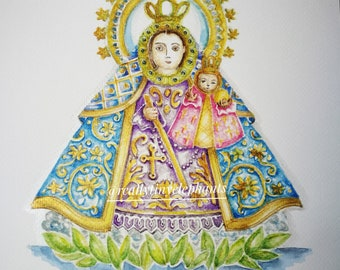 Our Lady of Manaoag, Patroness of Pangasinan, Philippines .. Individually hand embellished print of an original watercolor painting