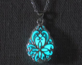 """Teardrop silver filigree pendant that glows in the dark - turquoise - on 18"""" silver chain"""
