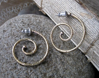 Small Brass Spiral Hoop Earrings