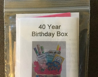 "Dollhouse Miniature 40th Birthday Box in 1/4"" scale kit by Jenny Fortin"