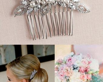 Bridal Hair Comb, Vintage style hair comb, Crystal Hair Comb,  Rose Gold,  Swarovski, Wedding Hair comb, Hair clip, Linneah Bridal Comb