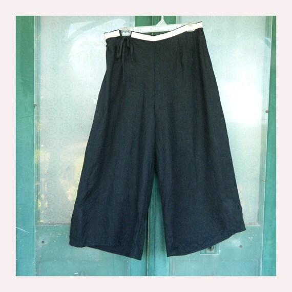 FLAX Engelhart Wide Leg Pants -L- Black Linen