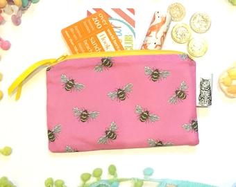 Exclusive Print Handmade Zip Purse - Bees