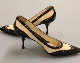 Yves Saint Laurent Tuxedo Heel, 1940s Style YSL Wingtip Heels, Women's Brogues, Saddle Style Shoes, Black and White Kitten Heels